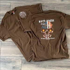 Bundle of Two Hanes Work T Shirts Fire Shirts